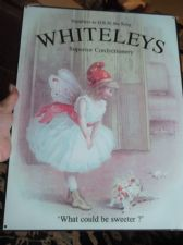 LOVELY REPRODUCTION ADVERTISING TIN SIGN SWEET WHITELEYS CONFECTIONERY HRH KING